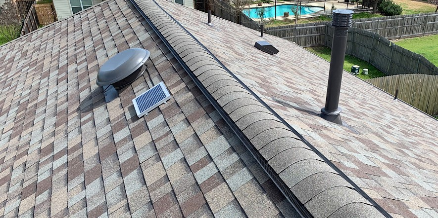 the perfect ventilation combination, ridge-vents and solar fans